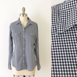 Classic Soft Wash Navy Gingham Shirt Career Button